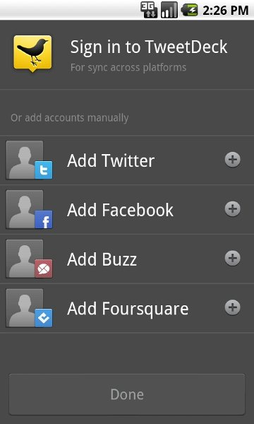 TweetDeck for Android Interface